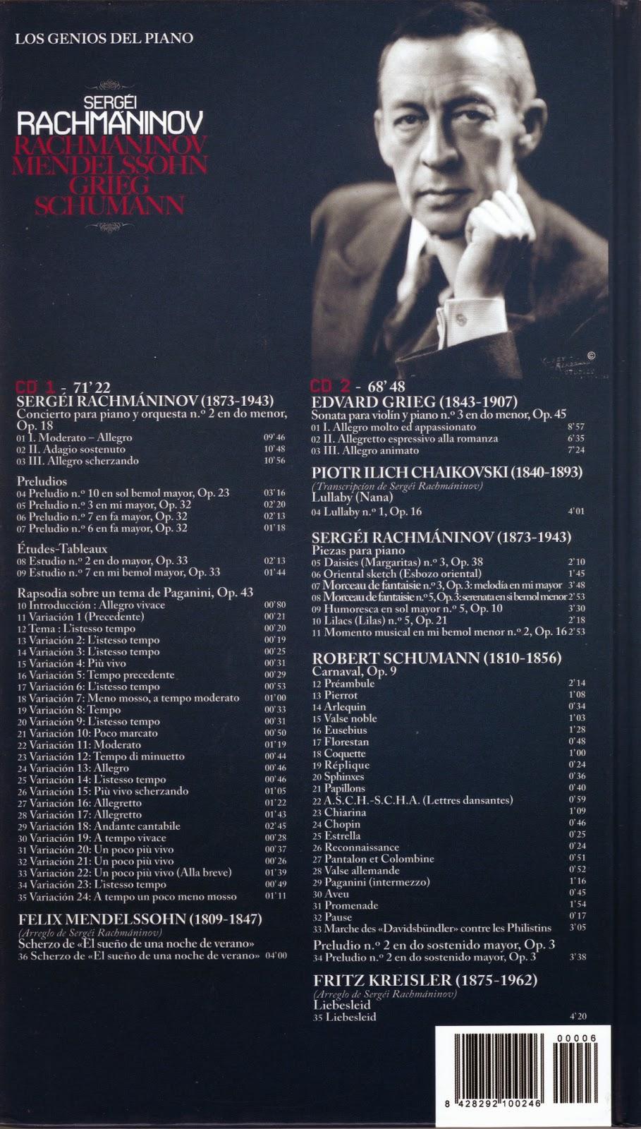 Imagen de Colección Los Genios del Piano-06-Sergei Rachmaninov & Mendelsshon, Grieg y Schumann-trasera