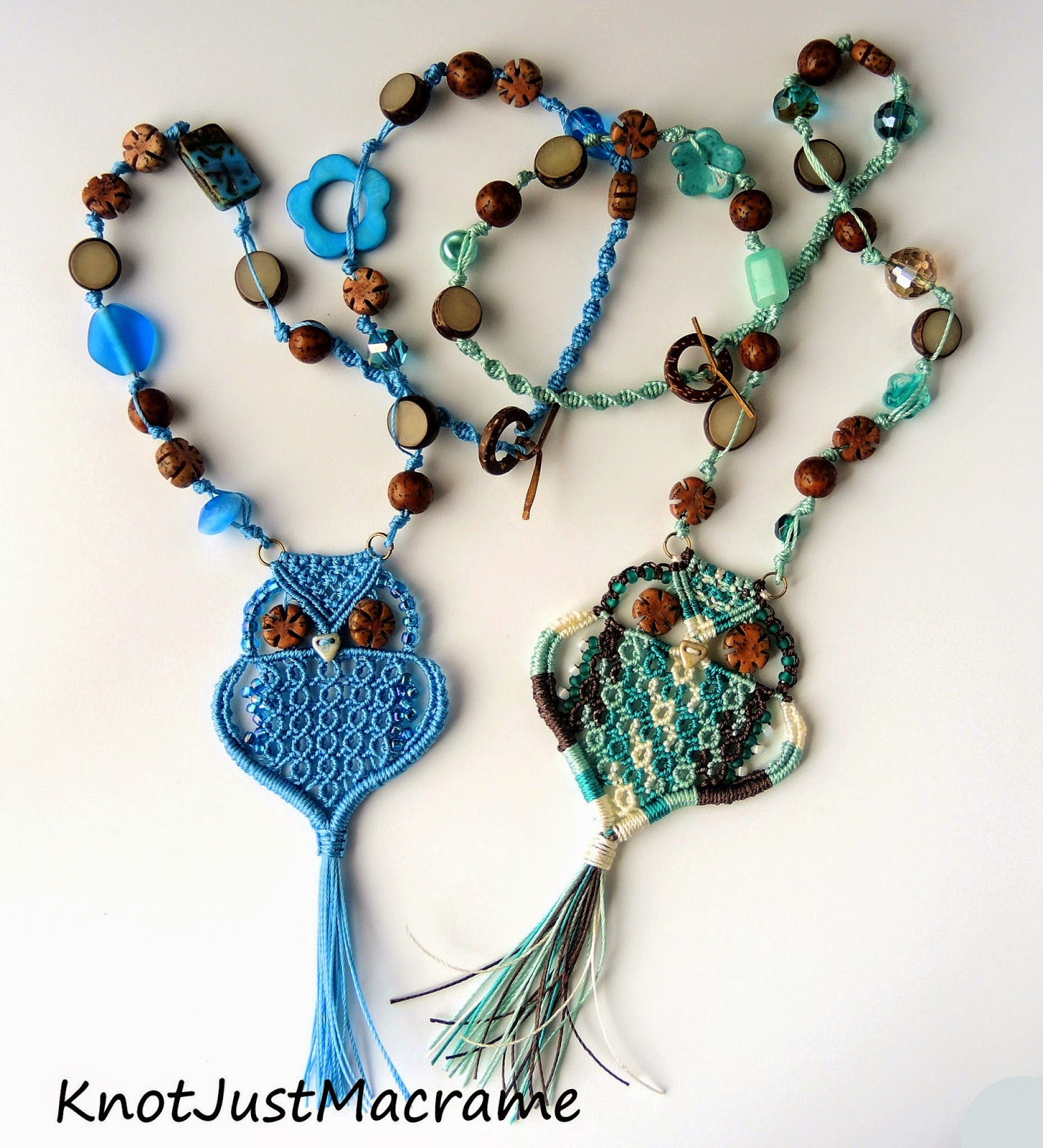 Macrame owl necklaces with natural and glass beads, designed by Sherri Stokey.