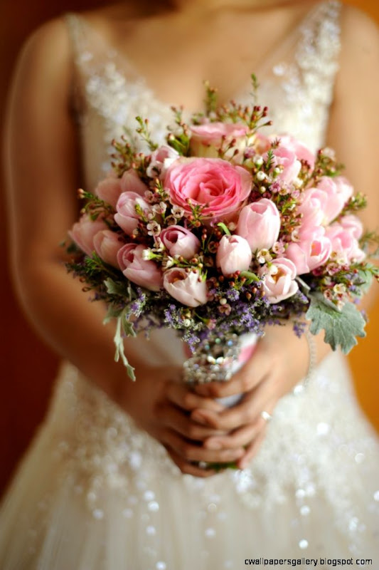 by Teddy Manuel Wedding bouquet Pink tulips with pink roses