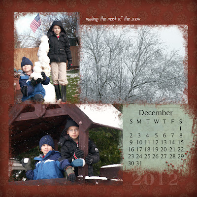 calendar Christmas gift project example December 2012 page digital scrapbooking by Jennifer Kistler
