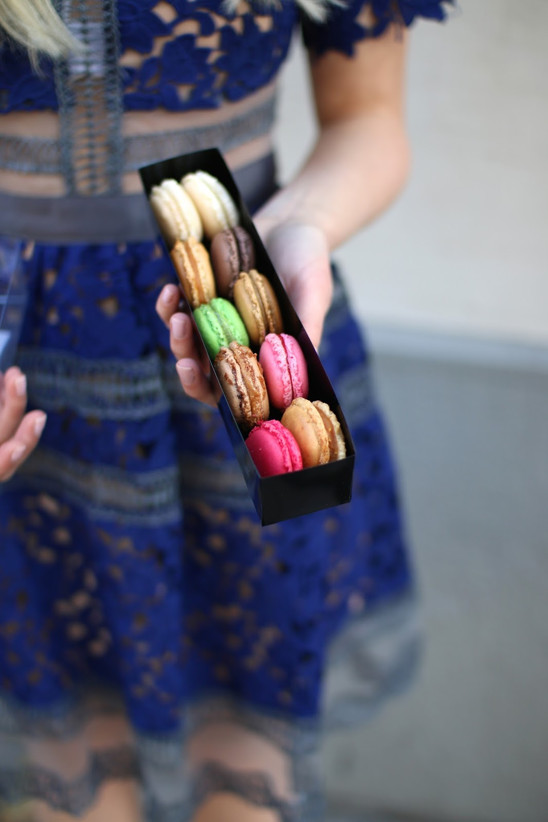 pretty pink, green and yellow macaroons in paris
