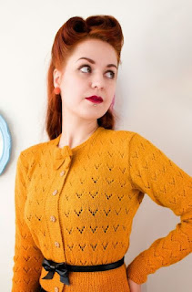 cardigan-jaune-moutarde-vintage-tricot