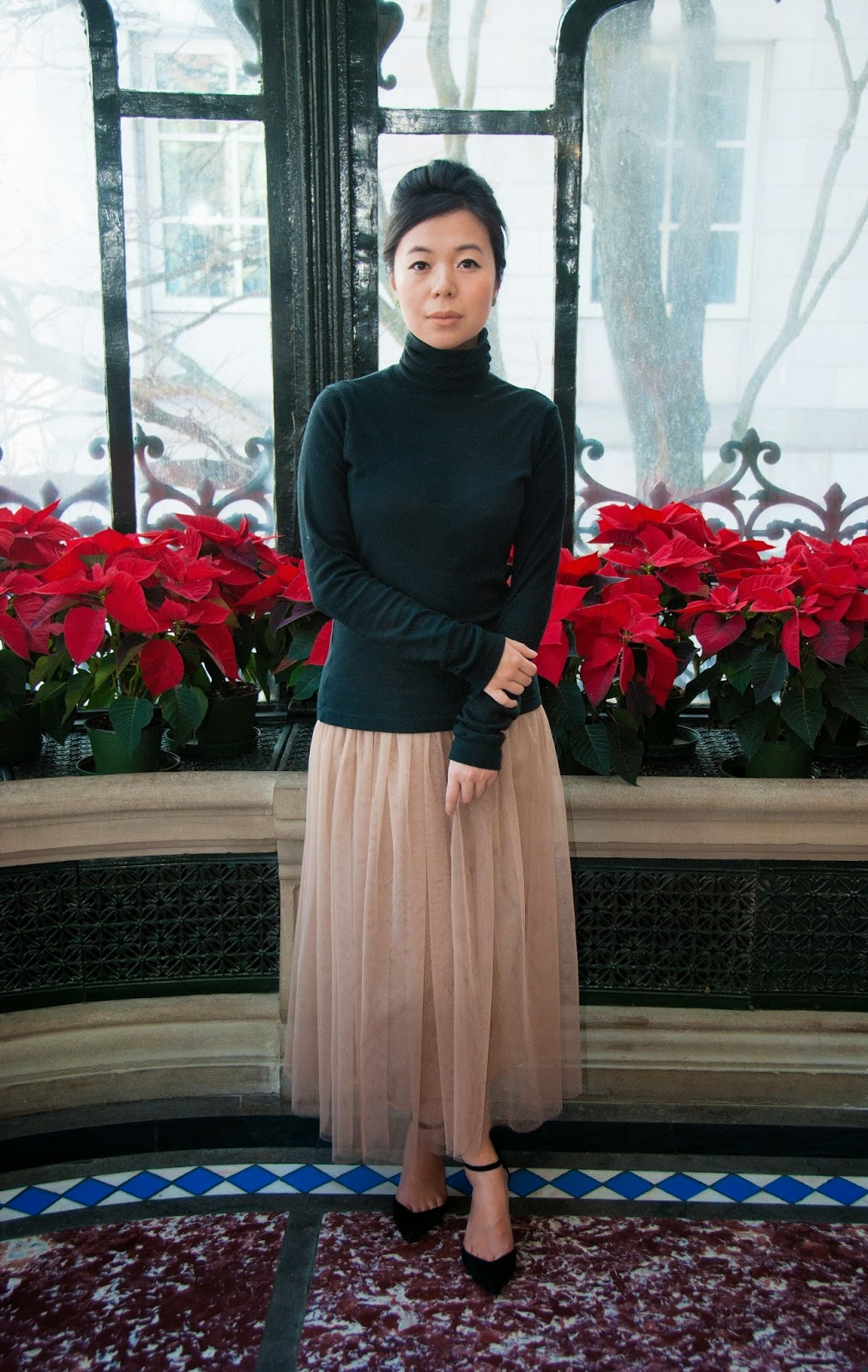 tulle skirt nude black turtleneck bouffant heels