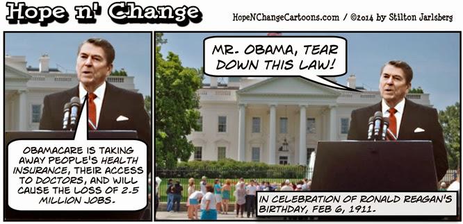 obama, obama cartoons, humor, joke, political, conservative, tea party, tear down this wall, obamacare, reagan, birthday, stilton jarlsberg