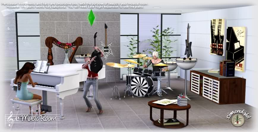My sims 3 blog the music room by simcredible designs for Sims 3 living room ideas