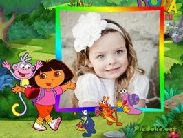 Montagem de fotos dias das crianças com a Dora aventureira