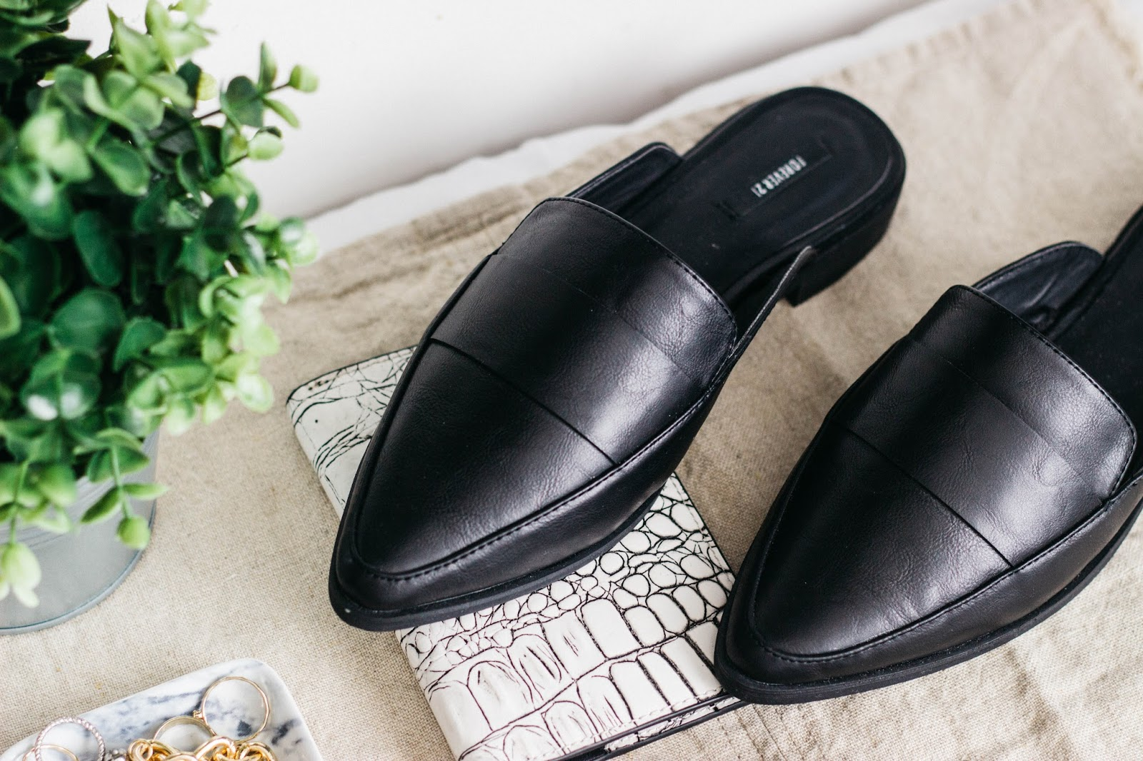 Pointed Faux Leather Mule Loafers