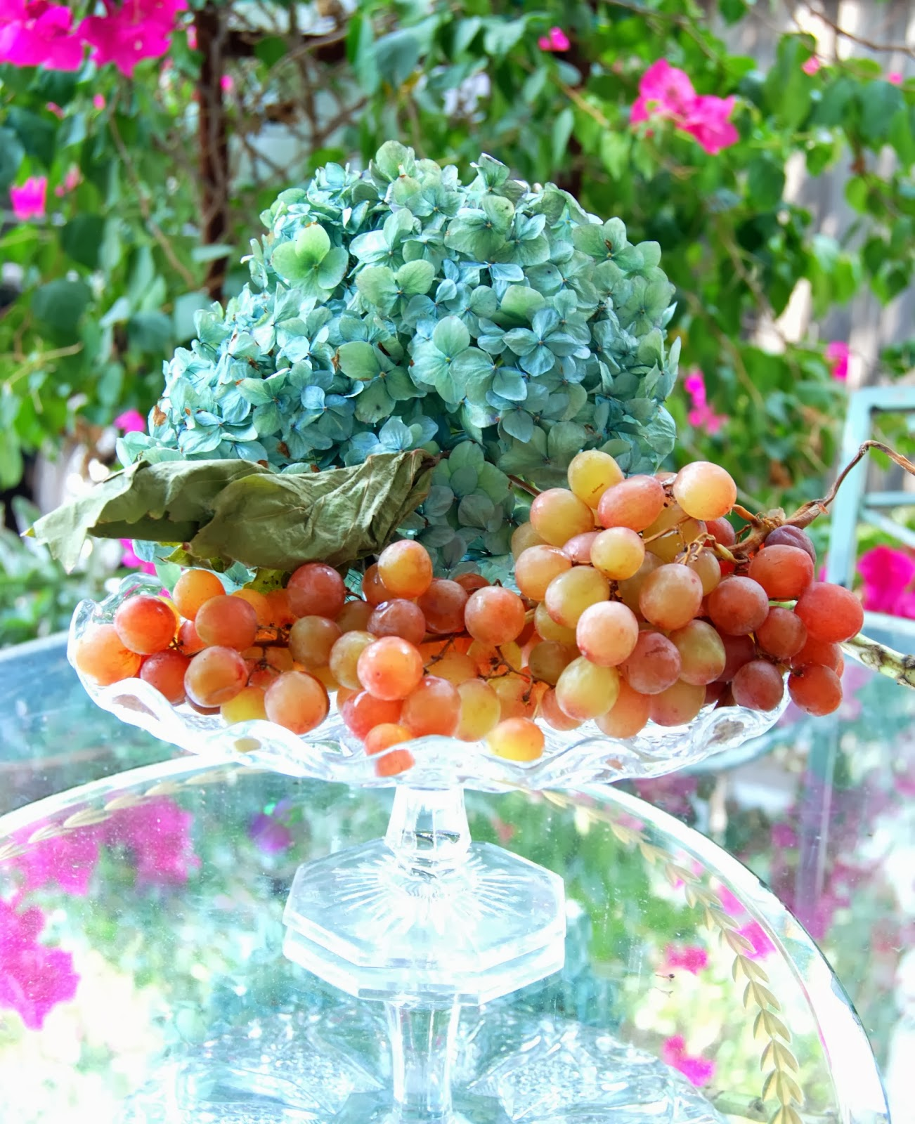 Antique Glass Compotes with Grapes