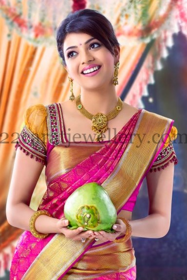 Kajal Latest Gold Kundan Necklace Jewellery Designs