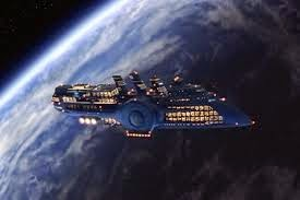 Floston Paradise in orbit around the planet Fhloston from the movie the Fifth Element.