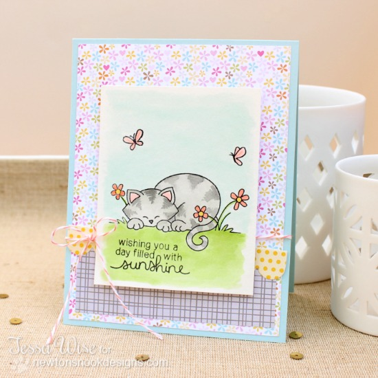 Sweet kitty card by Tessa Wise for Newton's Nook Designs - Newton's Daydream Cat stamp set