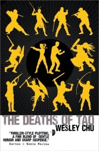 Cover art for The Deaths of Tao, featuring twelve bright yellow silhouettes against a black background. Ten of the silhouettes carry bladed or weapons or early guns and appear to be male. The two silhouettes at the centre stand back to back. The one on the left, which appears female, brandishes a handgun. The one on the right, which appears male, has its fits raised.