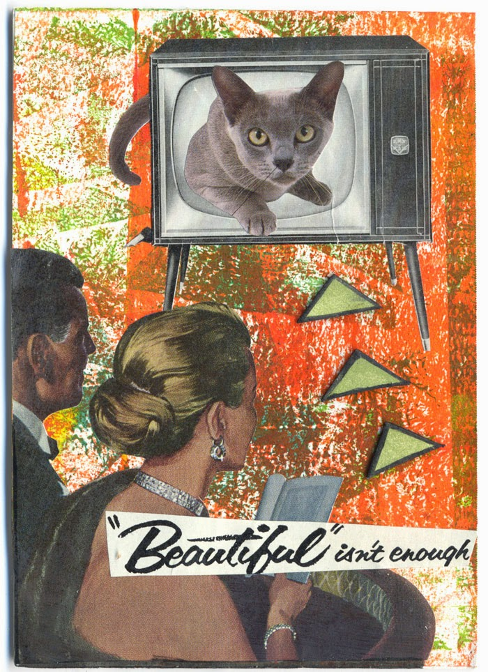 collaged kitty postcard