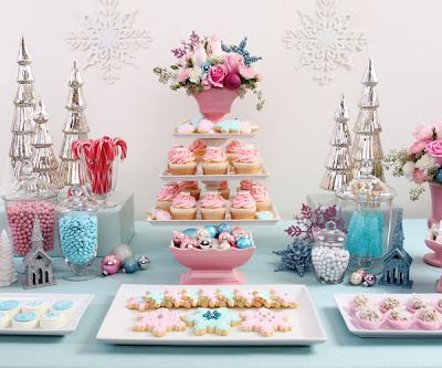 winter wedding dessert ideas, snowflake cookies, pink and blue candy buffet