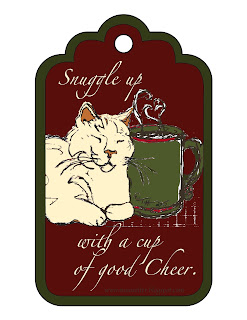 Snuggle Up gift tag ©2015 Tina M Welter, drawing of white cat with cup of hot chocolate