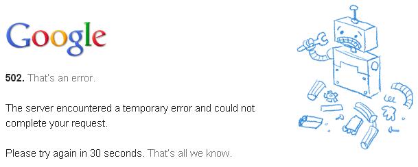 Google erro 502