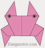 Bước 12: Vẽ mắt để hoàn thành cách xếp con của bằng giấy origami đơn giản.
