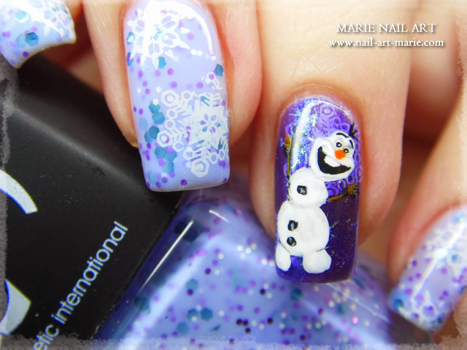 nail art reine des neige Olaf5