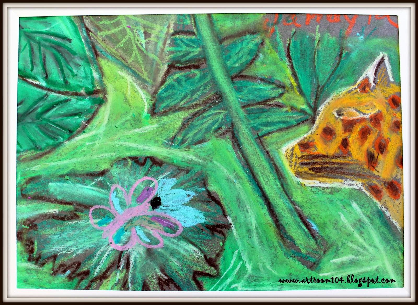 Art Room 104: 5th Grade: Oil Pastel Jungle Animals