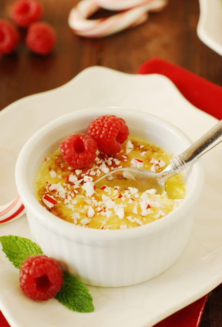 Peppermint-White Chocolate Creme Brulee ~ a beautifully-festive dessert for the Christmas season!   www.thekitchenismyplayground.com