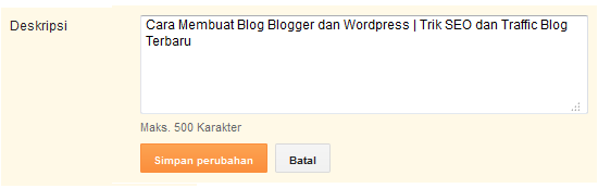 Mengubah deskripsi blog