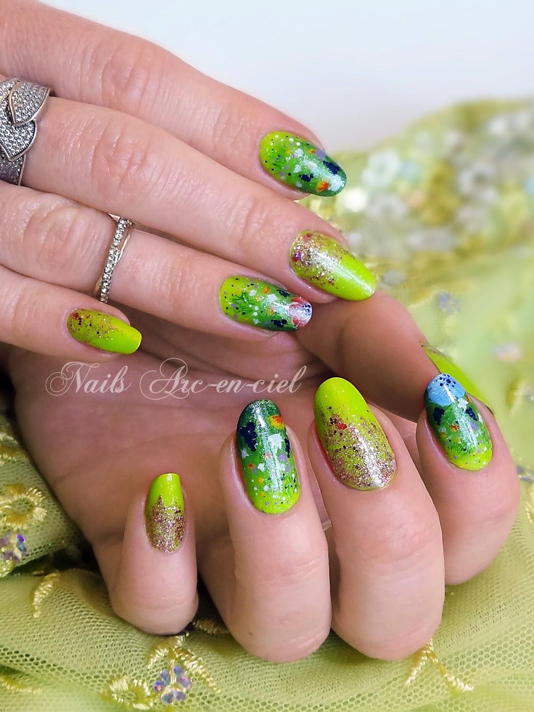 Nail art fleurs prairie au printemps