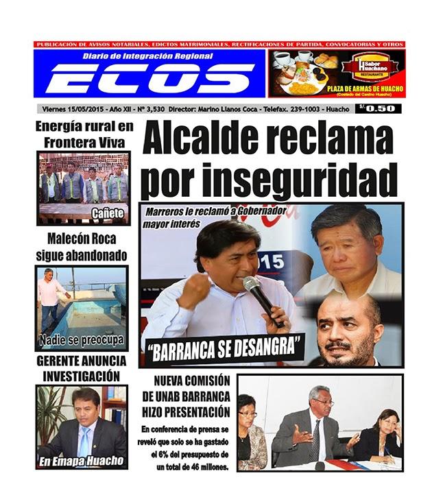 Esta es la edición del Diario ECOS viernes 15 de mayo del 2015
