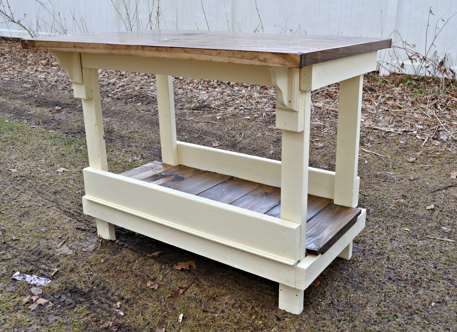 Antique kitchen work table - An Antique Work Bench Turned Kitchen Island