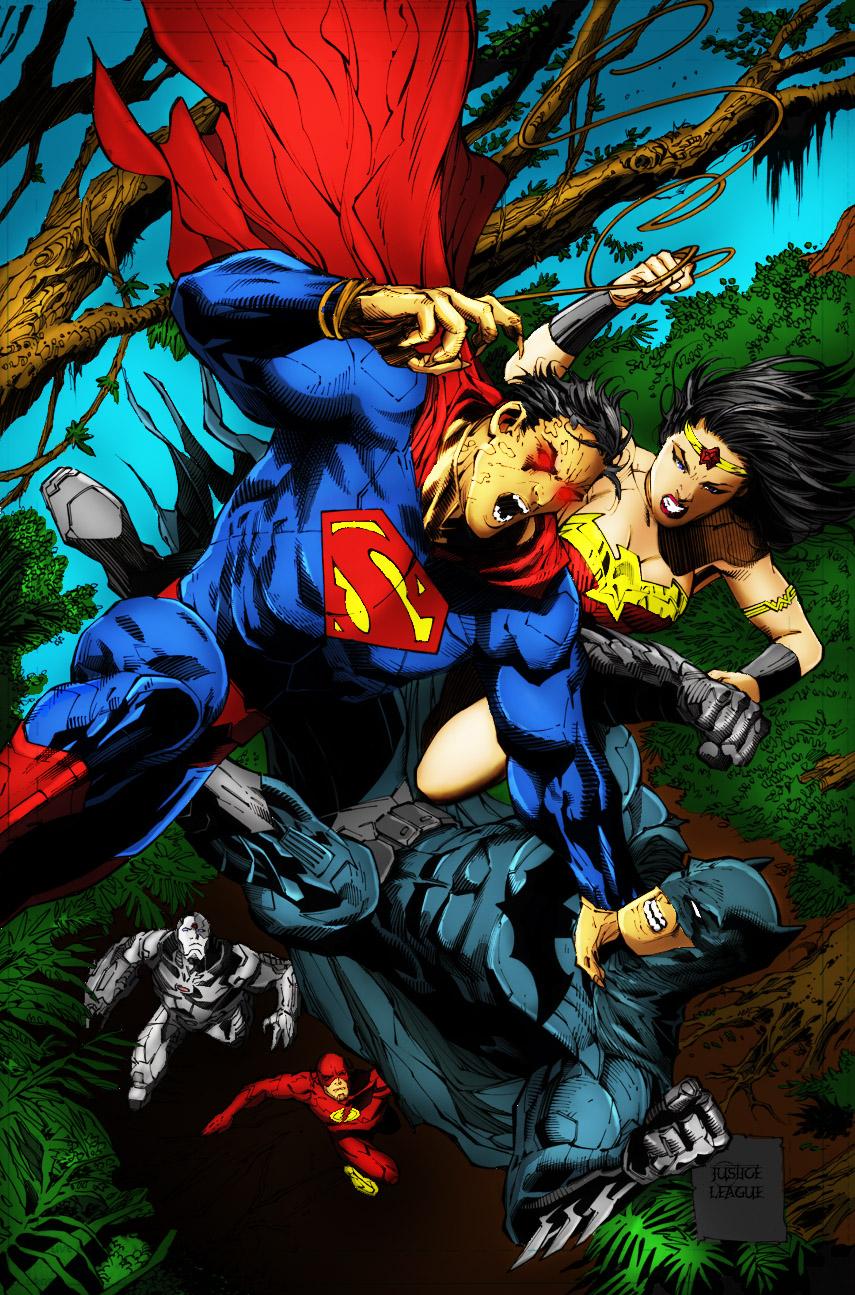 Coloreado de la liga de la Justicia en Photoshop y Corel Painter: