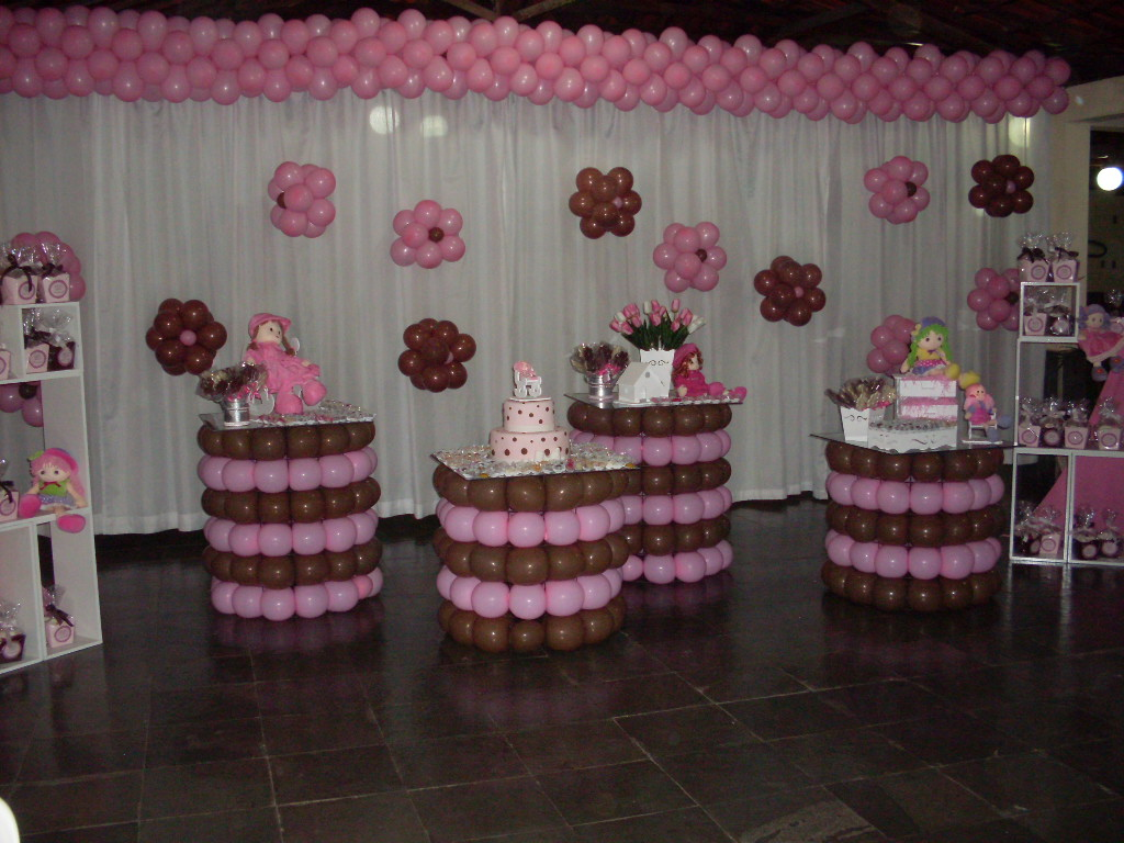 Decoracao Toda Neste Tema Ursos Marron E Rosa Olhem Que Linda As Fotos