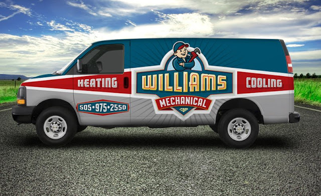 award winning heating and air conditioning truck wrap example
