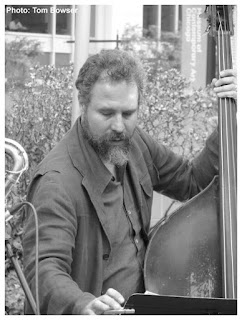 Joshua Abrams turns the page - Double Bass | MCA Chicago Free Jazz Tuesdays| Photograph by Tom Bowser