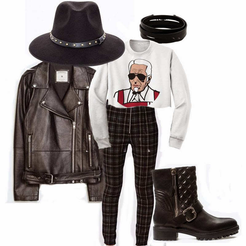 autumn outfit, autumn outfit ideas, winter outfit, winter outfit ideas, chunky boots, chunky shoes, beanie, choker, 90's, 90's style, ankle socks, hipster outfit, hipster style, oversized blazer, velvet skirt, fedora, studded fedora, check trousers, biker boots, biker jacket, biker outfit