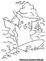 Gambar Pikachu Bermain Papan Seluncur