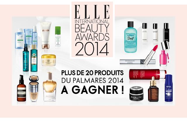 5 coffrets de 18 produits primés Elle Beauty Awards 2014