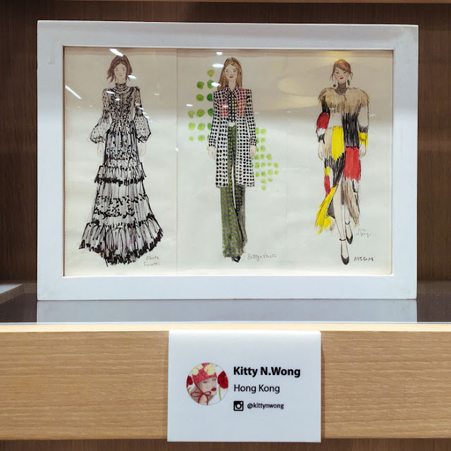 fashion illustration framed on bookshelf