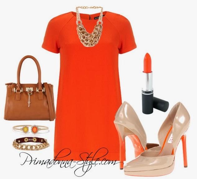 Orange Crepe Shift Dress Two Lips Too Too Thrust Aldo Myrum Handbag Textured Links Bib Necklace Chained and Bound Bracelet Hex Gems Cuff Bracelet MAC Morange Lipstick