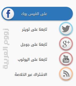 إضافة أزرار المواقع الاٍجتماعية بتاثير CSS