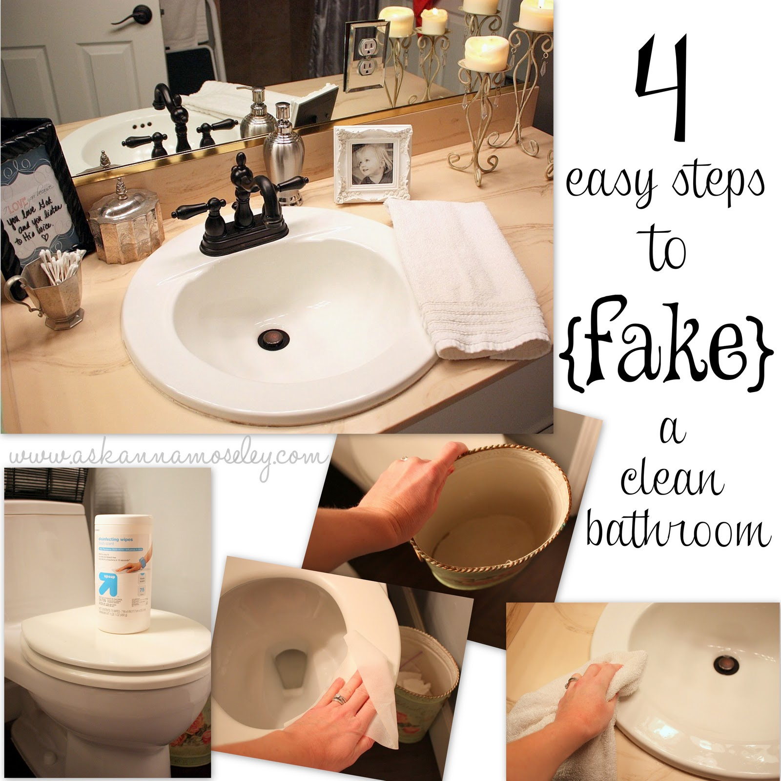 How to fake a clean bathroom by my guest anna organizing for How often to clean bathroom