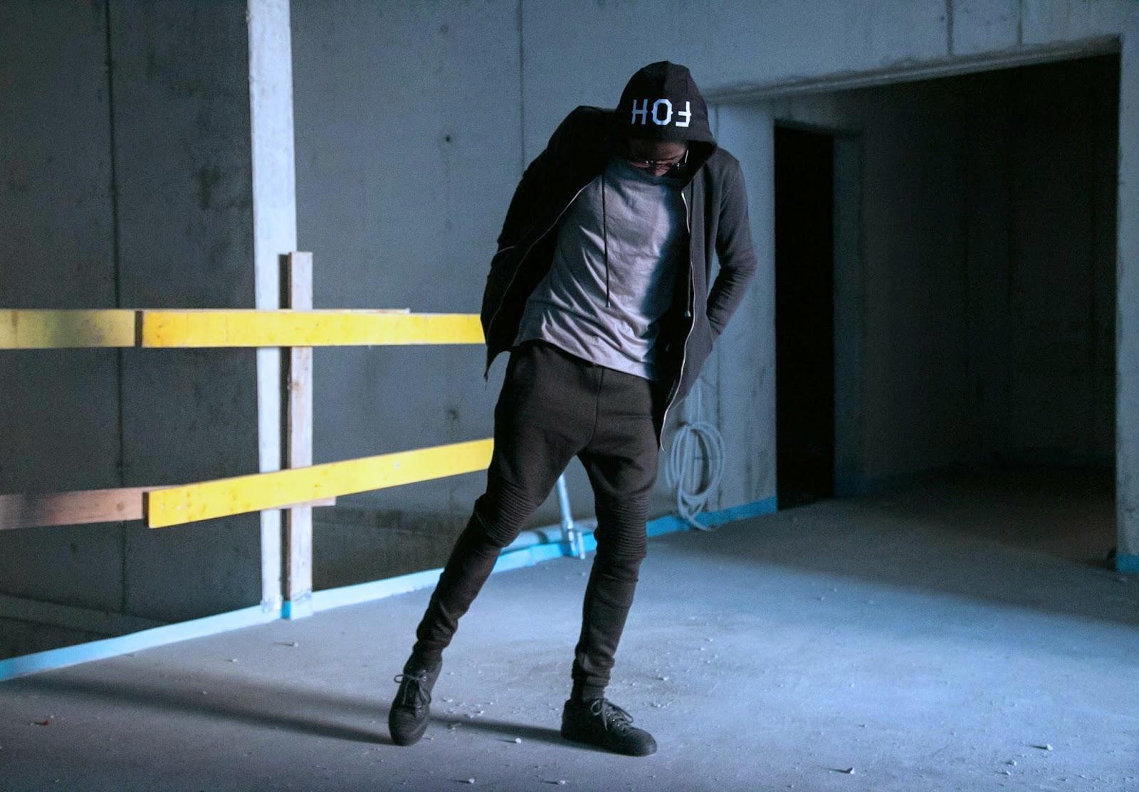 Jonthegold for FOH APPAREL black biker zip hoodie  freyrs sunglasses urban photography snoboshts