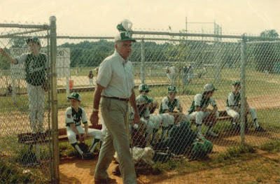 Al Browne manager George Carver, Randolph East 3B dugout, 1983