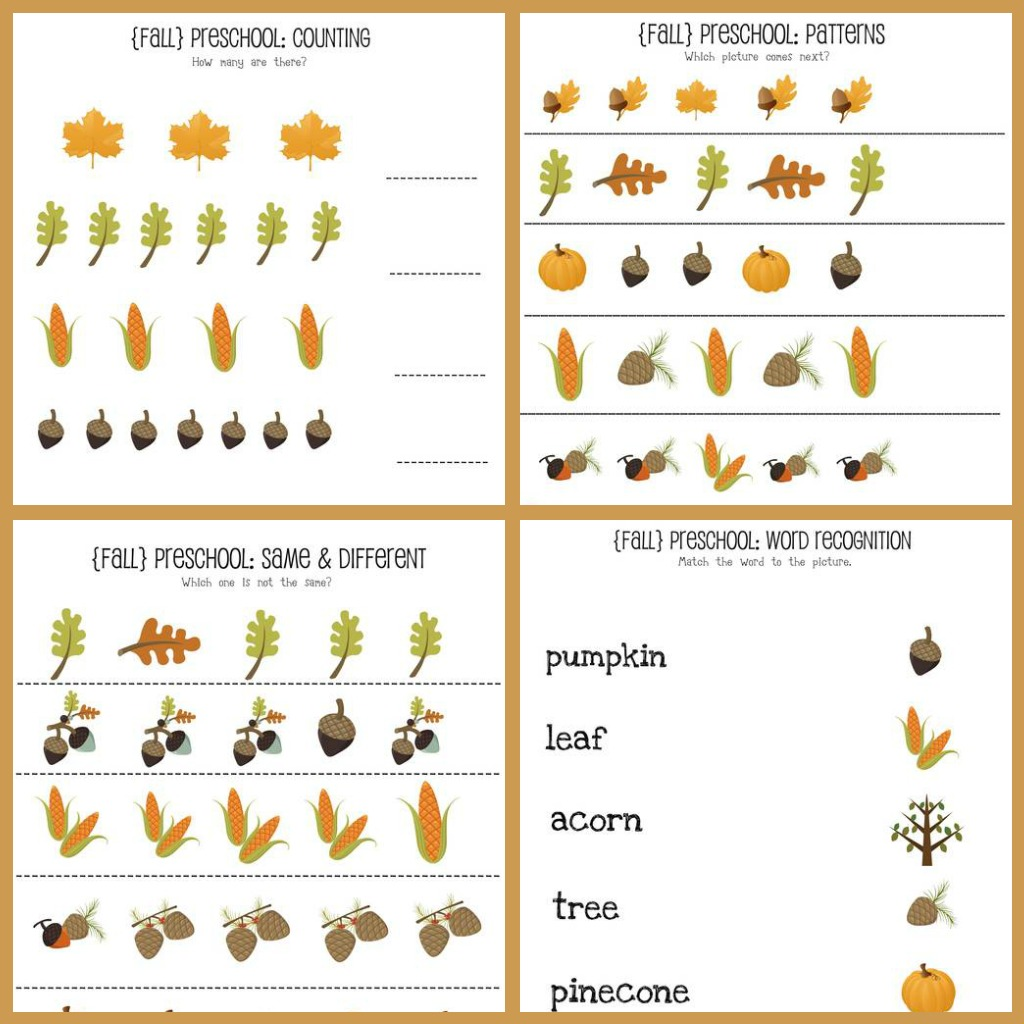Fall Worksheets For Kindergarten : Fall preschool printables mine for the making