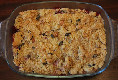 Twice-baked apple and blackberry crumble