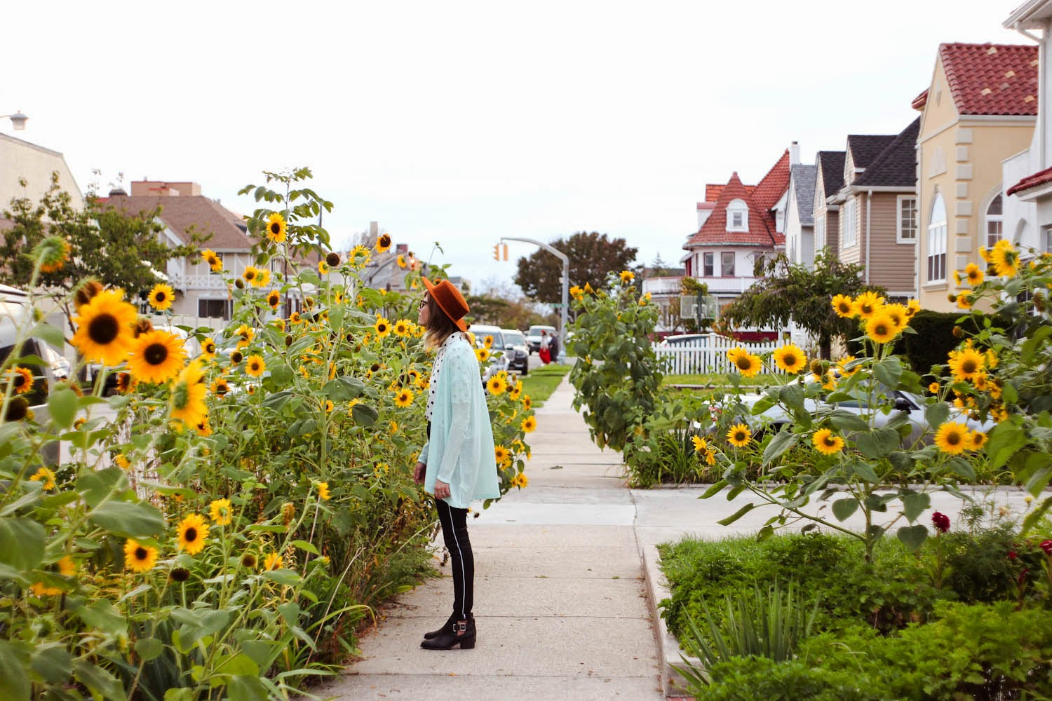 h&m high waist pants, sunflowers, fall outfit style, h&m fall campaign, nyc vintage fashion blog