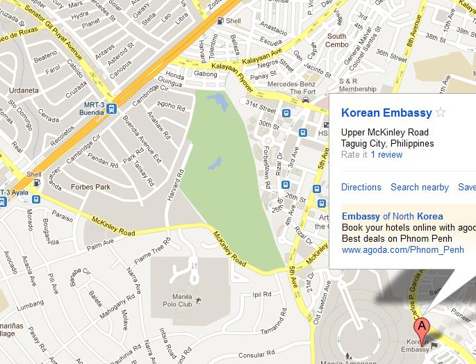 South Korea Embassy In The Philippines Location Map