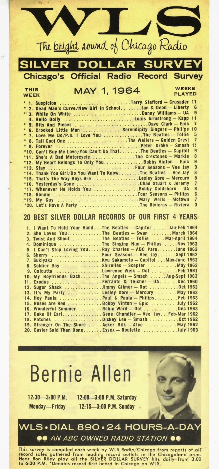 classic top 40 radio wls chicago silver dollar survey 5 1 64 bernie