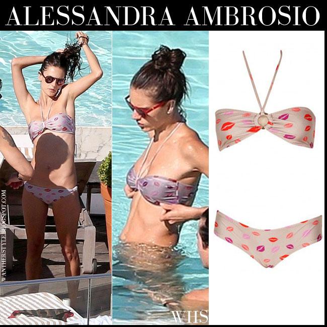 Alessandra Ambrosio in lip print two piece bikini by Jo De Mar what she wore june 30 beach fashion