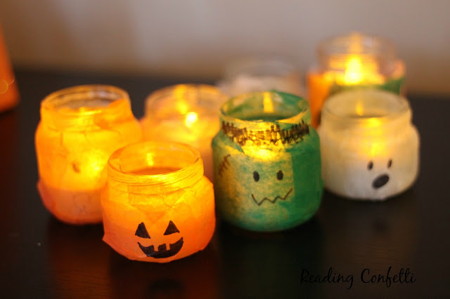 Halloween votive holders made from recycled jars and tissue paper
