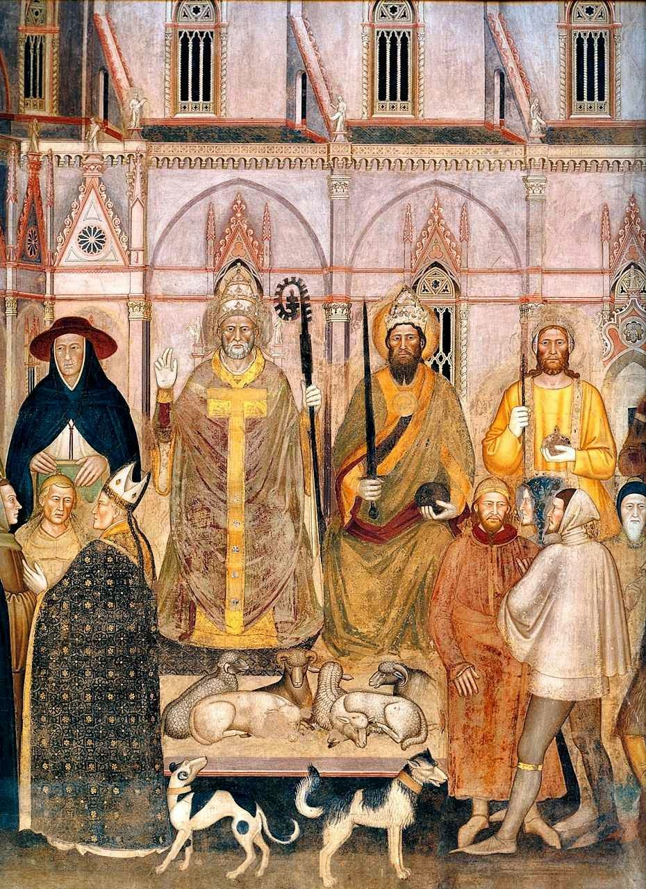 Detalhe da Igreja Militante. Andrea da Firenze (1366-7). Santa Maria Novella, Florença