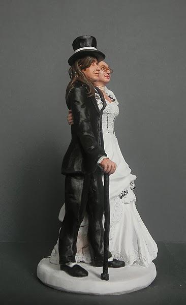 sposo gotico cake topper matrimonio volti personalizzati artigianali orme magiche